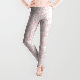 Blush Pink and White Mandala Leggings