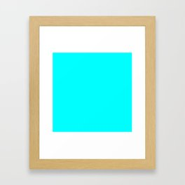Neon Aqua Blue Bright Electric Fluorescent Color Framed Art Print