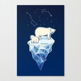 Polar bears on iceberg Canvas Print