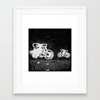 bikes Framed Art Prints featuring bikes by Lesley Bourne