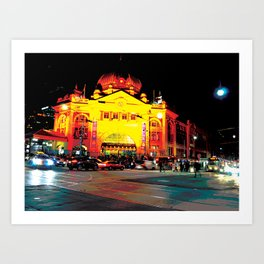 Flinders Street Station at night Art Print