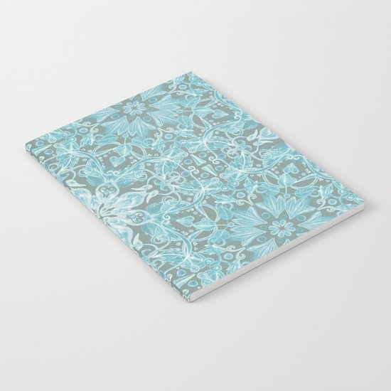 Soft Teal Blue & Grey hand drawn floral pattern Notebook