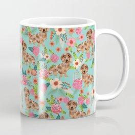 Dapple Dachshund cream doxie lover floral must have gifts dachsie flowers Coffee Mug