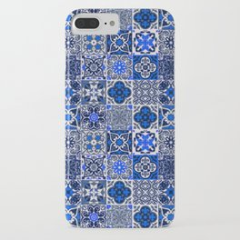 -A34- Blue Traditional Floral Moroccan Tiles. iPhone Case