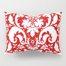 Paisley Damask Red and White Pattern Pillow Sham