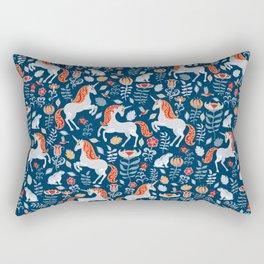 Unicorns, rabbits, birds, flowers. Decorative seamless pattern. Folk art. Rectangular Pillow