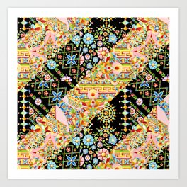 Crazy Patchwork Triangles Art Print