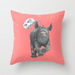 A Baby Rhino's Ontological Argument for the Existence of Unicorns Throw Pillow