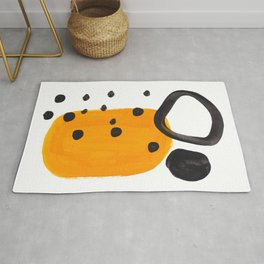 Mid Century Abstract Black & Yellow Fun Pattern Funky Playful Juvenile Shapes Polka Dots Rug