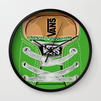 vans Wall Clocks featuring Cute Green Vans all star baby shoes apple iPhone 4 4s 5 5s 5c, ipod, ipad, pillow case and tshirt by Three Second