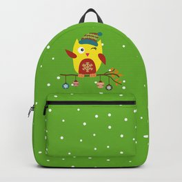 Cute Owl sitting on a branch with christmas baubles, Winter, X-mas Design Backpack