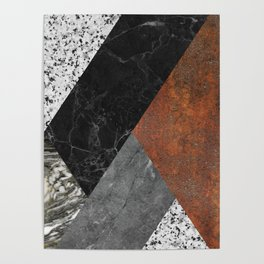 Marble, Granite, Rusted Iron Abstract Poster