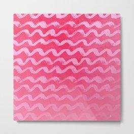 Neon Pink Wave Texture Pattern Metal Print