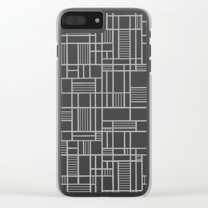Map Lines Silver Clear iPhone Case