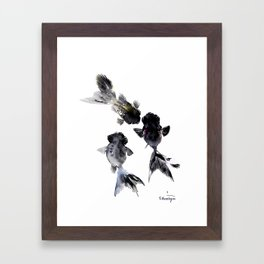 Black Moor, Feng Shui Koi Fish Art, Three Fish black fish decor Framed Art Print