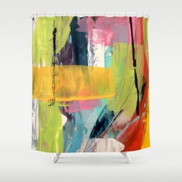 Hopeful[2] - a bright mixed media abstract piece Shower Curtain
