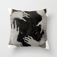 hair Throw Pillows featuring Wild Dog by Corinne Reid