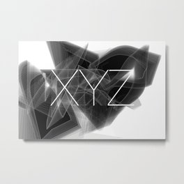 Typographic treatment of letters XYZ. Dark Math XYZ. Metal Print