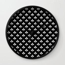 White French Fleur de Lis on Black Wall Clock