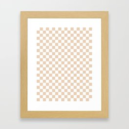 Small Checkered - White and Pastel Brown Framed Art Print