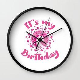Unicorn Birthday Gift Pink Hearts Cute Unicorns Wall Clock