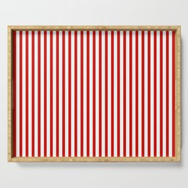 Red & White Maritime Vertical Small Stripes - Mix & Match with Simplicity of Life Serving Tray