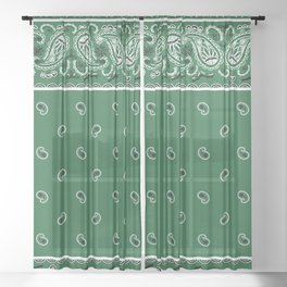 Classic Green Bandana Sheer Curtain
