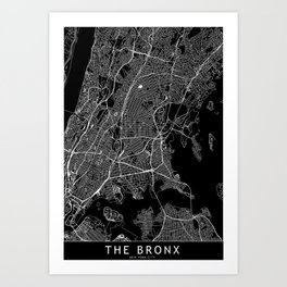 The Bronx Black Map Art Print