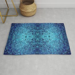 Deep blue glass mosaic Rug