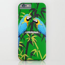 Kakadu - Macaw Bamboo Rope Jungle green iPhone Case