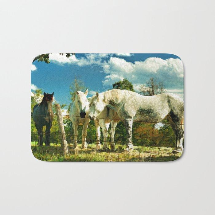Amish work horses Bath Mat