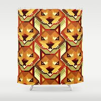 yetiland Shower Curtains featuring The Bold Wolf pattern by Yetiland