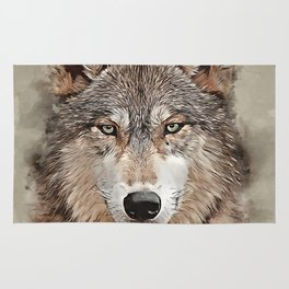 Watercolor Wolf Rug