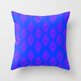 Mudcloth Dotty Diamonds in Neon Purple + Cobalt Throw Pillow