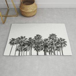 California Beach Vibes // Black and White Palm Trees Monotone Travel Photograph Rug