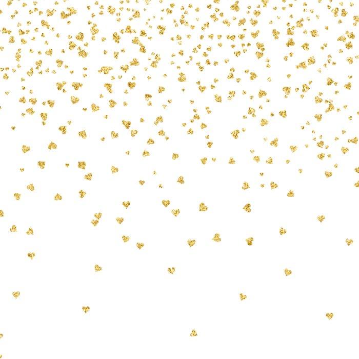 Falling Hearts Gold Glitter Confetti Heart Love
