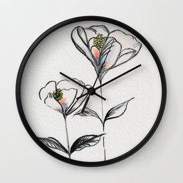 Black and White Watercolor and Ink Flower with Peach Accent  Wall Clock