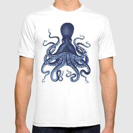 Watercolor blue vintage octopus T-shirt