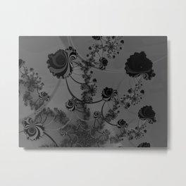 Abstract Black Roses Metal Print