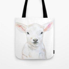 Lamb Face Watercolor Tote Bag