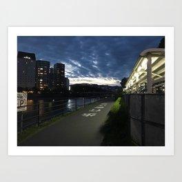Sunset over a Japanese city Art Print