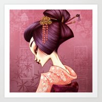 geisha Art Prints featuring Geisha by Christine Alcouffe