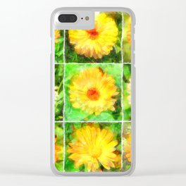 Watercolour Collage of Yellow And Orange Marigolds Clear iPhone Case