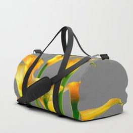 DECORATIVE GOLDEN CALLA LILY FLOWERS ON GREY ART Duffle Bag