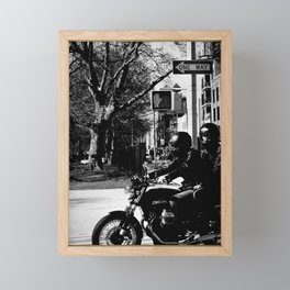 Two on a Motorcycle Framed Mini Art Print