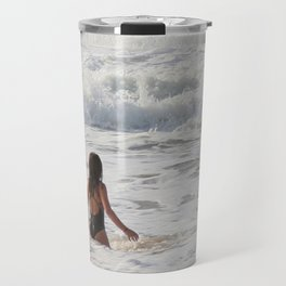 Breaking wave and girl Travel Mug