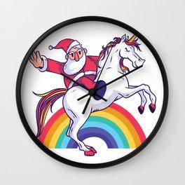 Santa Unicorn Wall Clock