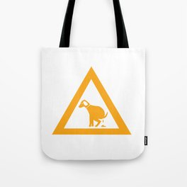 Caution Pooping Dog Tote Bag