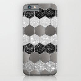 Silver Hexagon Glitter Glam #1 #geometric #decor #art #society6 iPhone Case