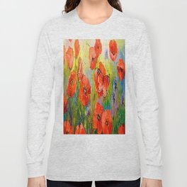 Poppies and butterflies Long Sleeve T-shirt